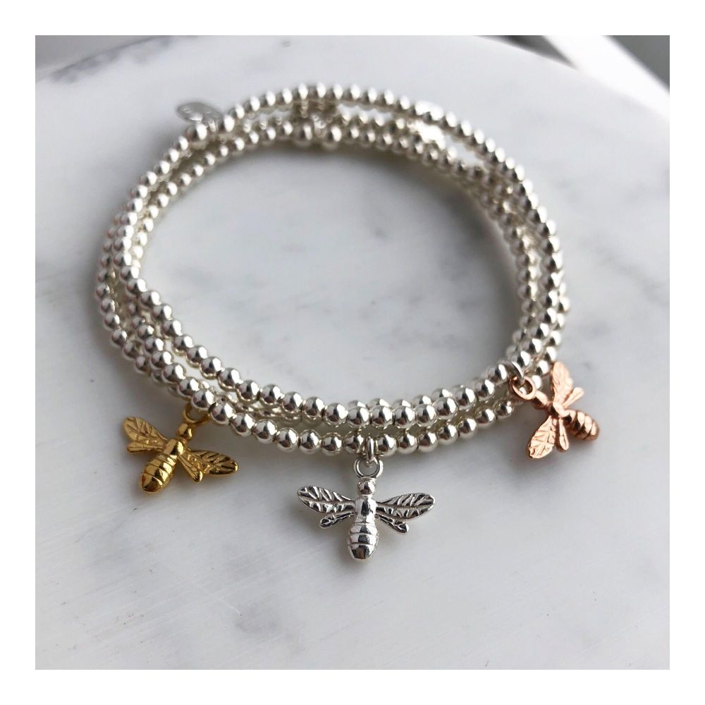 Sterling Silver Beaded Bee Bracelet