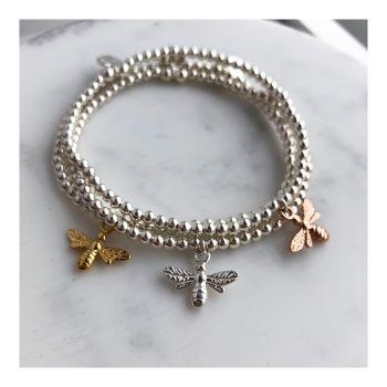 Sterling Silver Beaded Bee Bracelet