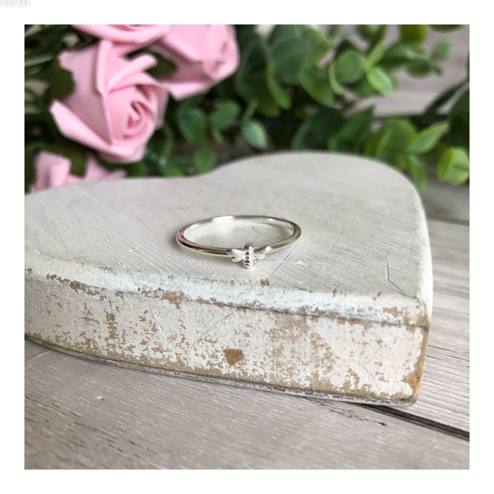 Tiny Sterling Silver Bee Stacker Ring