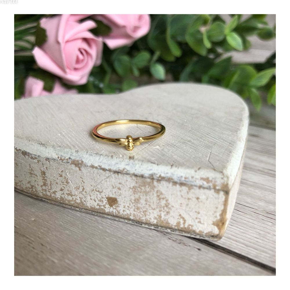 Tiny Gold Bee Stacker Ring