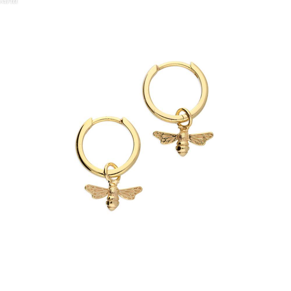 Gold Bee Hoop Huggie