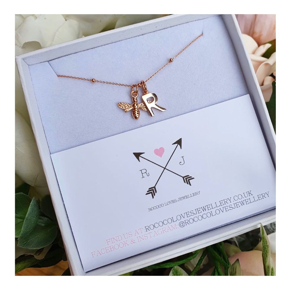 Rose Gold Bee & Initial Necklace