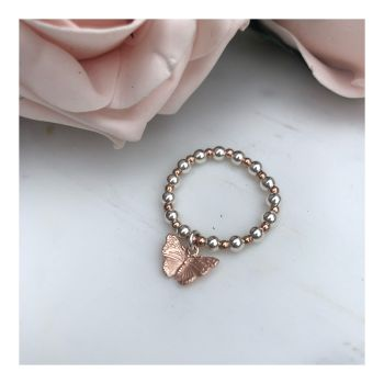 Beaded Ball Butterfly Ring-Rose Gold