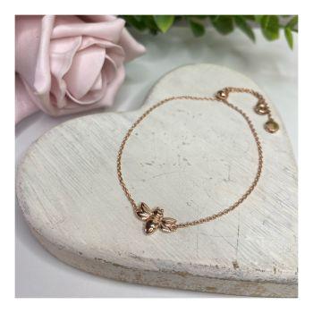 Rose Gold Dragonfly Slider Bracelet
