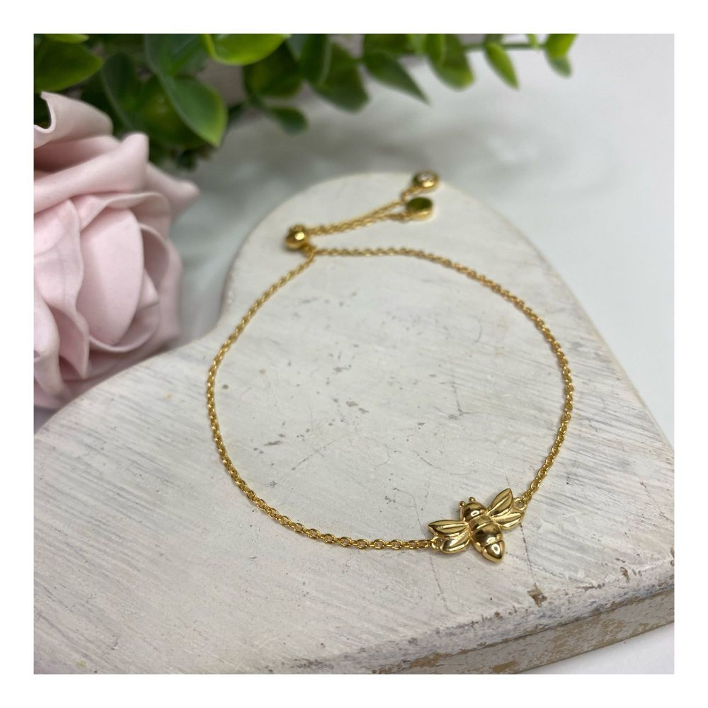 Gold Dragonfly Slider Bracelet
