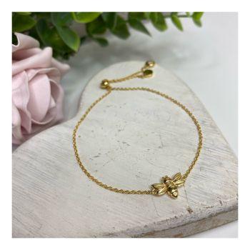 Gold Dragonfly Slider Bracelet