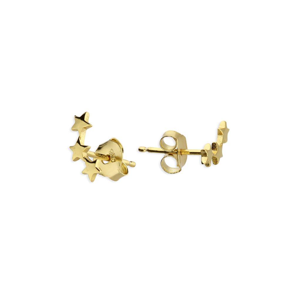 Star Crawler Stud Earrings in Yellow Gold