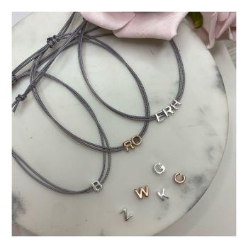 Mini Slider Initial Cord Bracelet