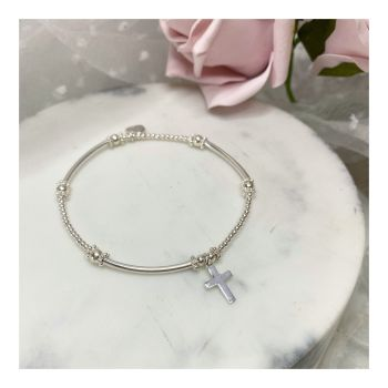 Mini Boodle Sterling Silver Cross Bracelet