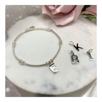 Mini Boodle Sterling Silver Initial Bracelet
