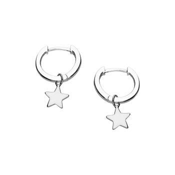 Sterling Silver Star Hoop Huggie