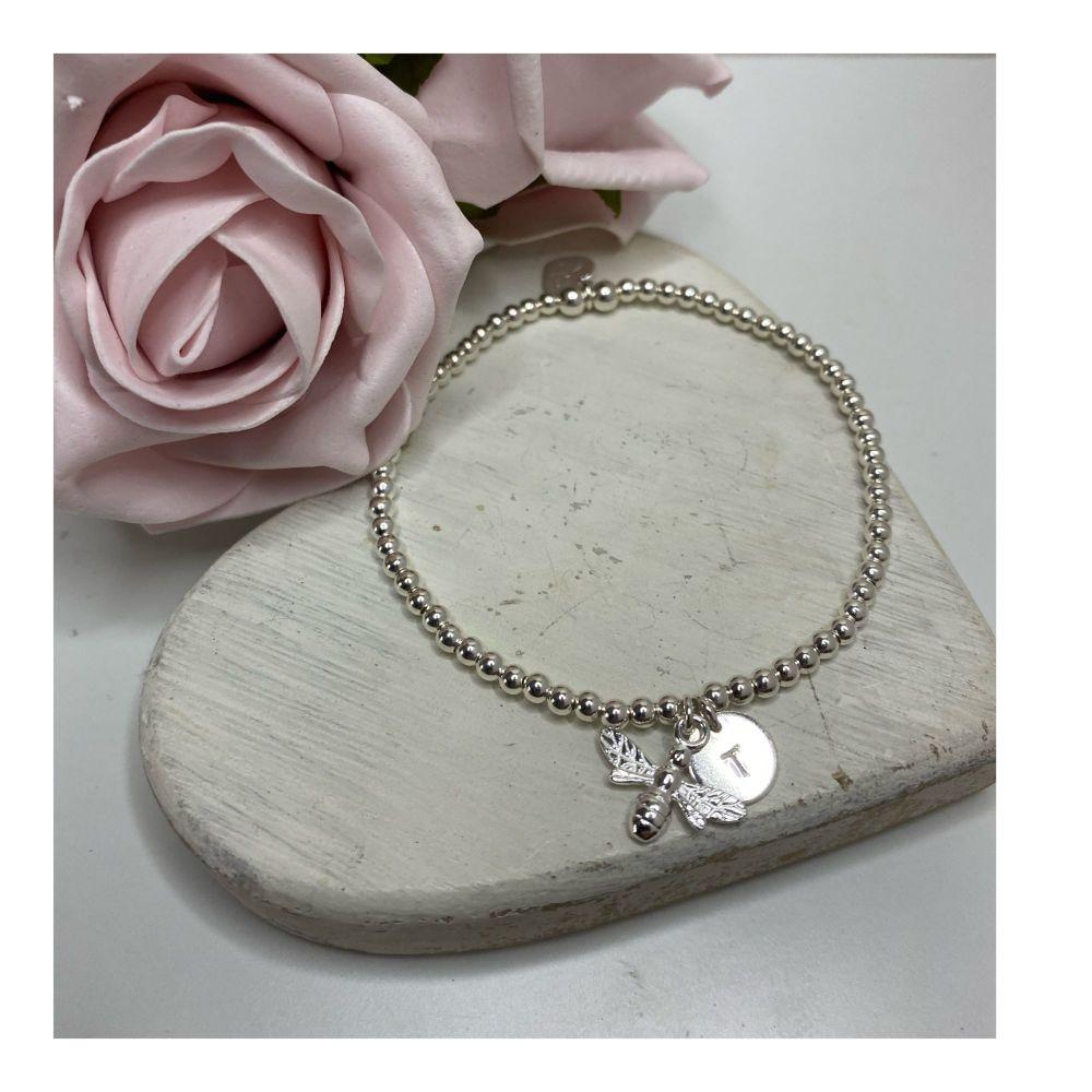 Sterling Silver Bee Ball Bracelet
