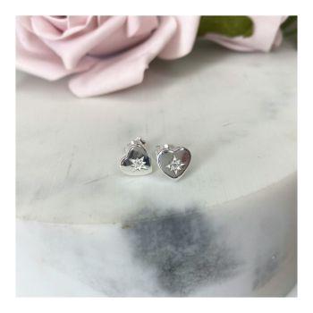 Sterling Silver Heart-burst Earrings