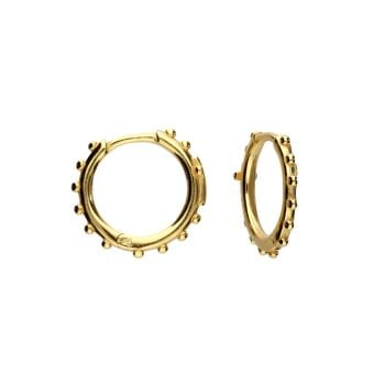 Bobbled Small Hoop with Cross in 18ct Gold
