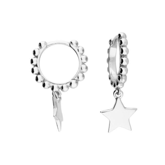 Sterling Silver Bobbled Star Mini Hoop