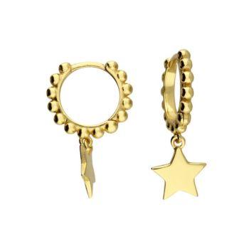 14ct Gold Bobbled Star Mini Hoop