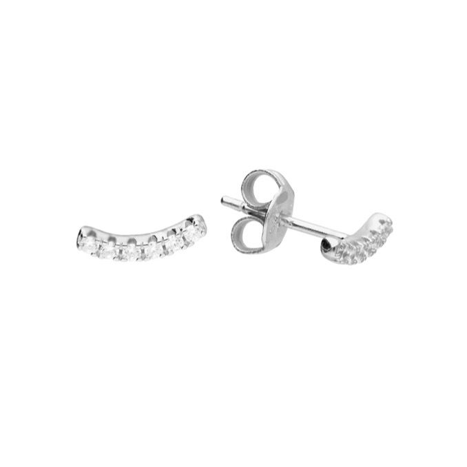 Curved Crystal Row Stud Earring in Sterling Silver