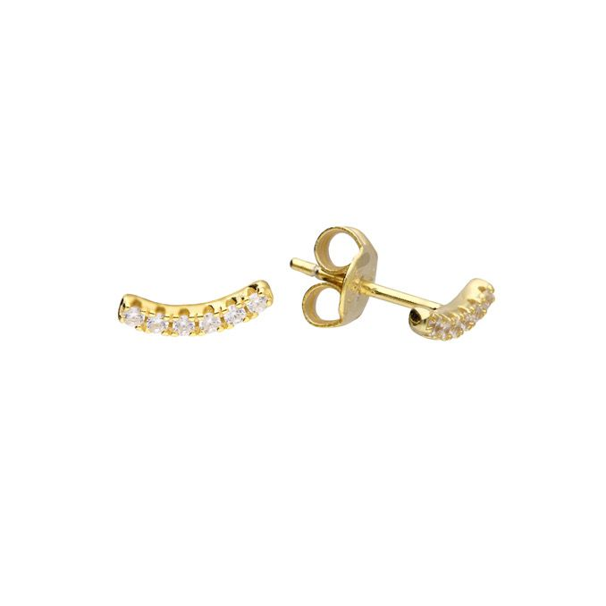 Curved Crystal Row Stud Earring in 14ct Gold