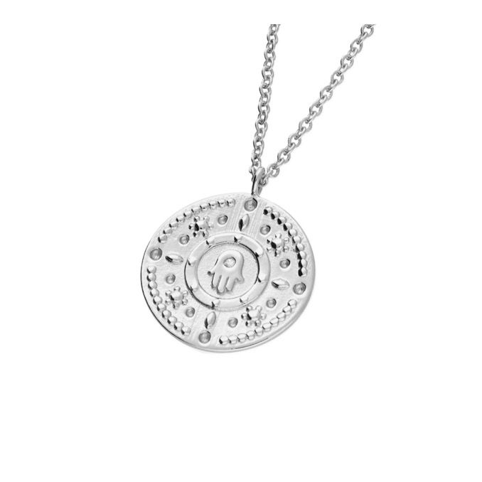Hamsa Hand CZ Coin Necklace in Sterling Silver