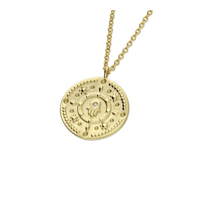 Hamsa Hand CZ Coin Necklace in 18ct gold