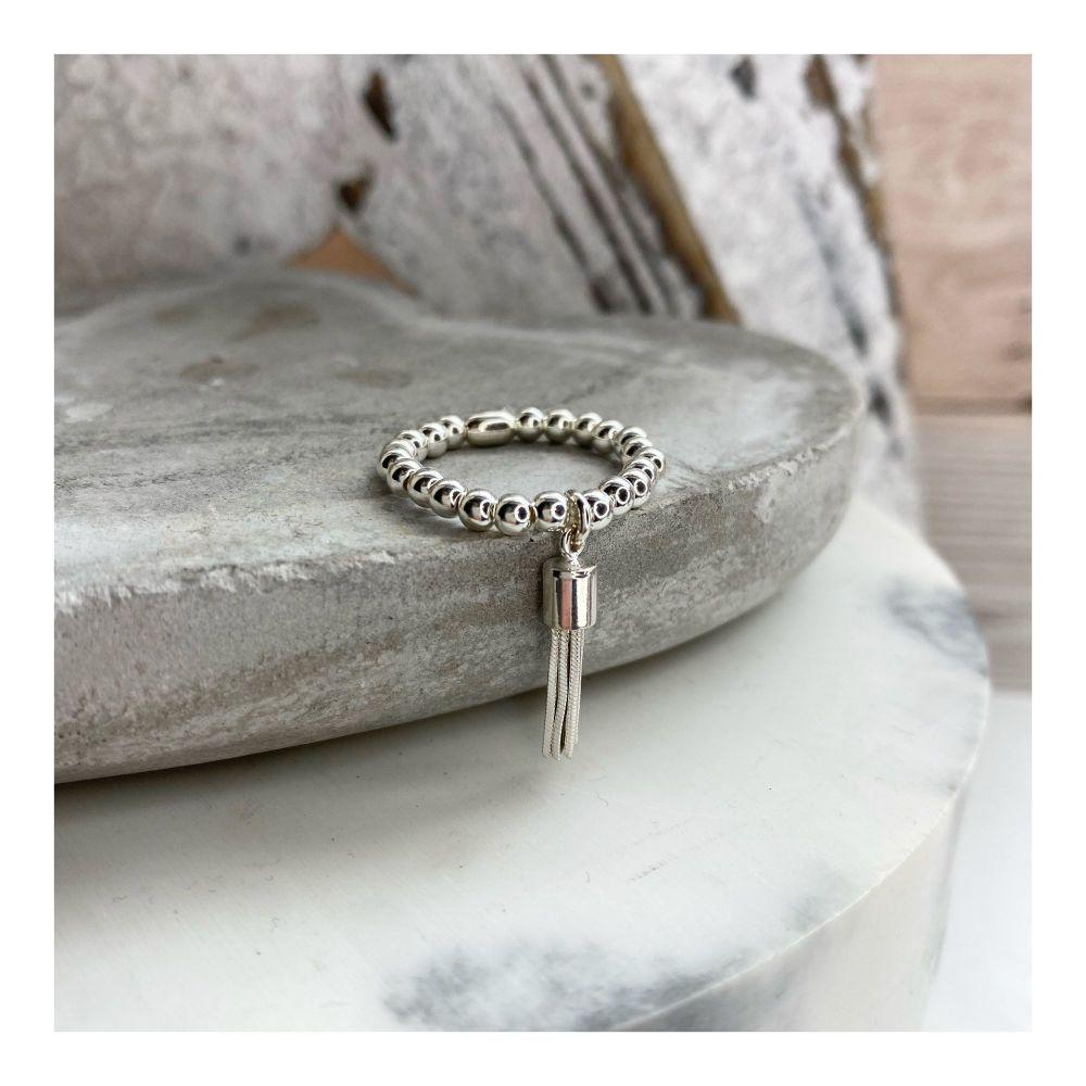 Sterling Silver Tassel Elasticated Charm Ring