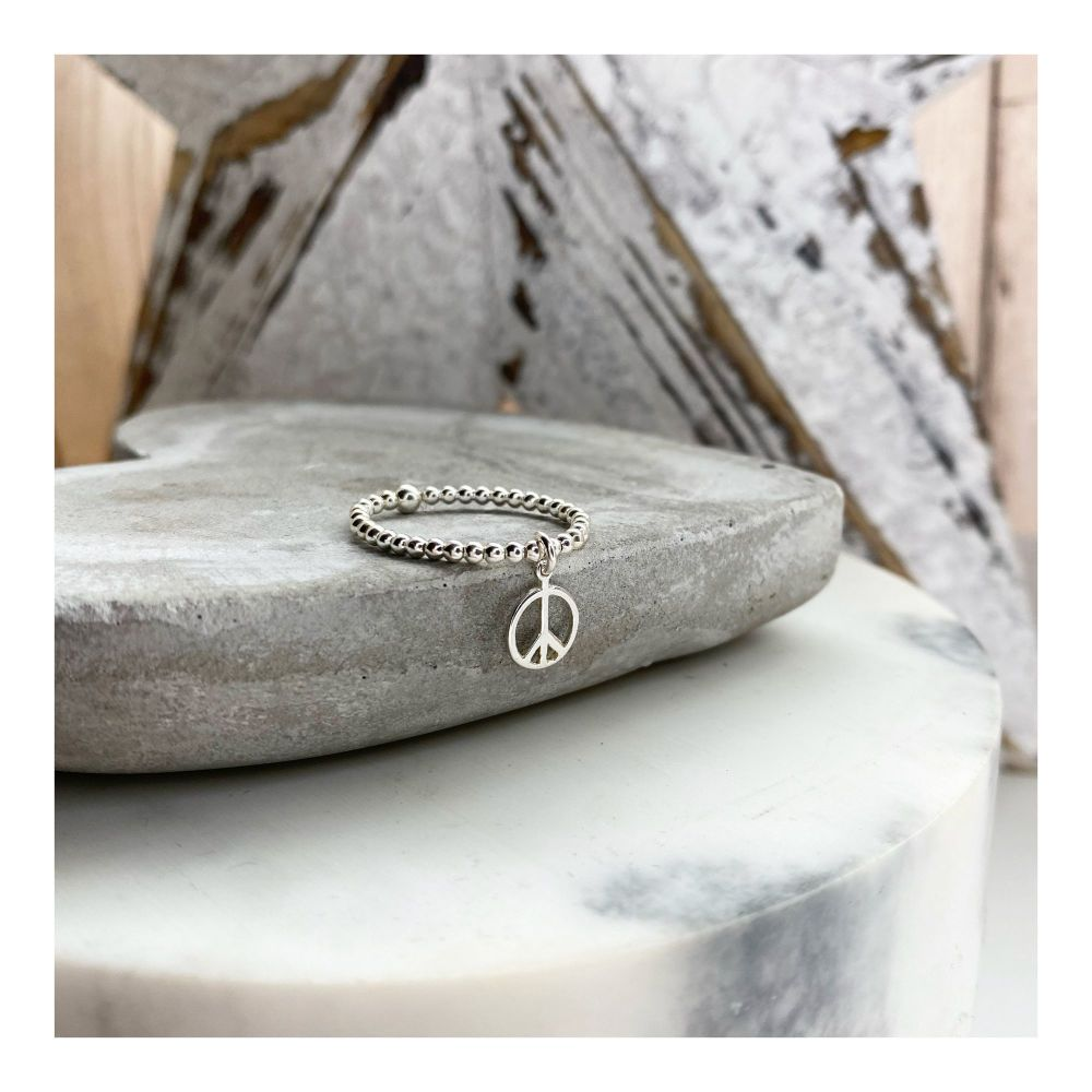Sterling Silver Mini Peace Ring