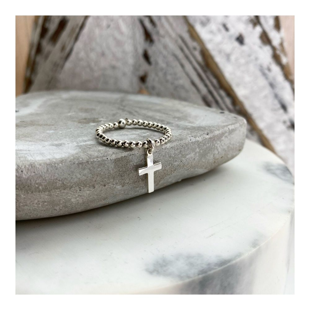 Sterling Silver Cross Ring on 2mm balls