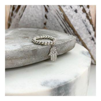 Sterling Silver & CZ Hamsa Hand Ring on 3mm balls