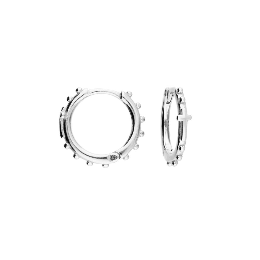 Bobbled Small Hoop with Cross in Sterling Silver