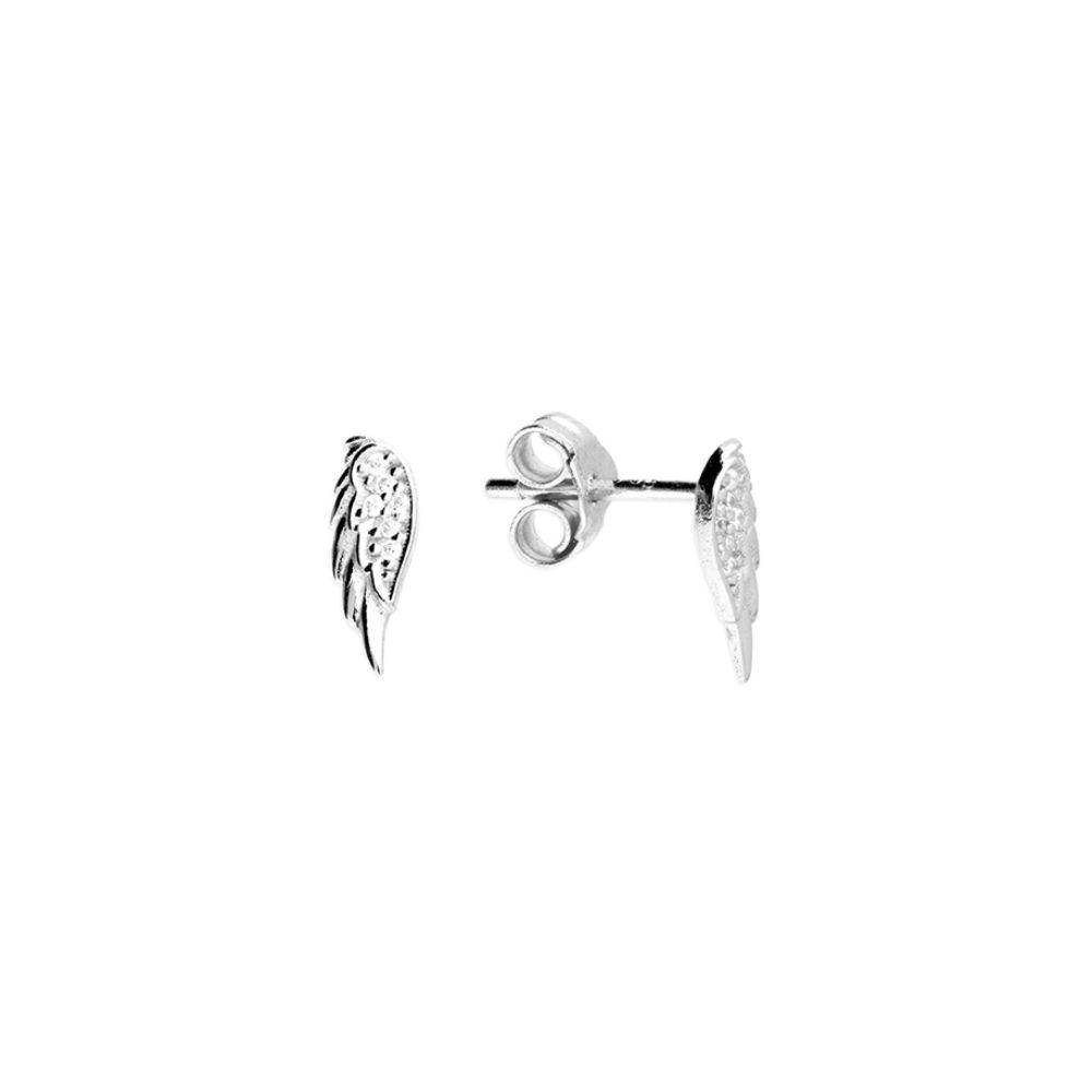 Small CZ Angel Wing Stud Earrings- Sterling Silver