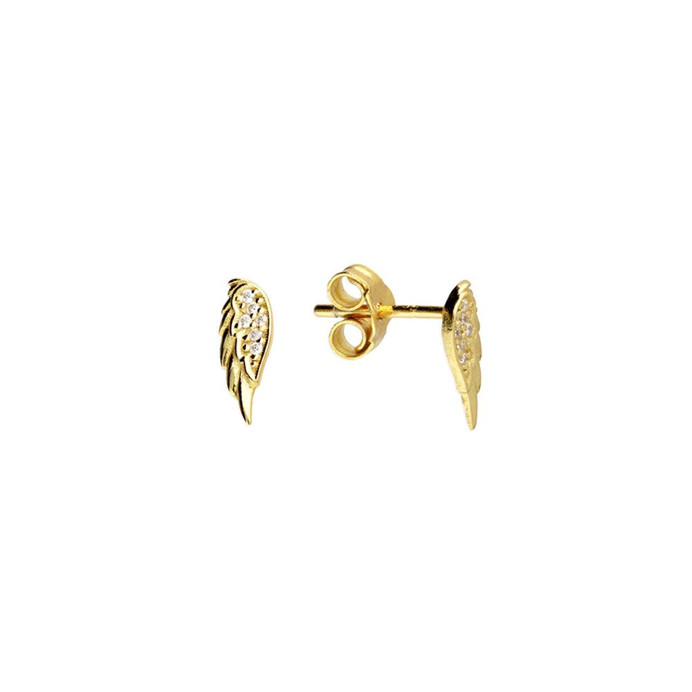 Small CZ Angel Wing Stud Earrings- 14ct Gold on Sterling Silver