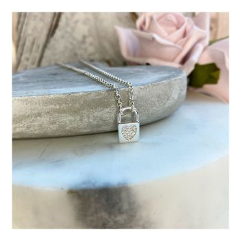 Crystal Heart Padlock Necklace