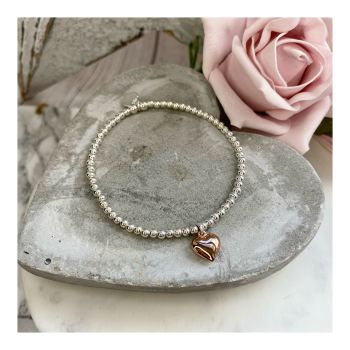 Midi Ball Sterling Silver Bracelet with Rose Gold Heart