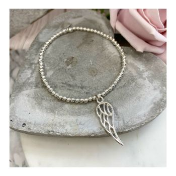 Midi Sterling Silver Bracelet with Silver Wing