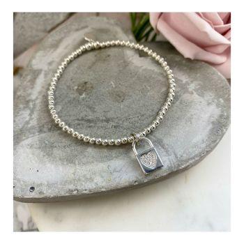 Midi Ball Sterling Silver Bracelet with Padlock Charm