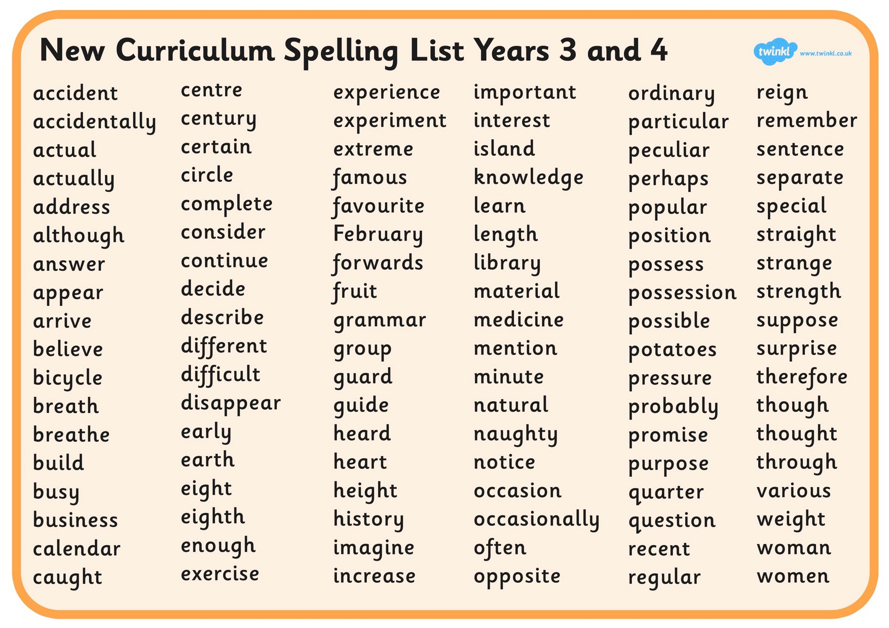 Image result for year 3 4 spellings