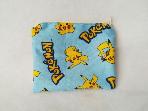 coin Purse Made With Pikachu fabric - blue