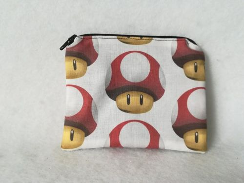 Coin Purse Made With Mario Mushrooms Fabric