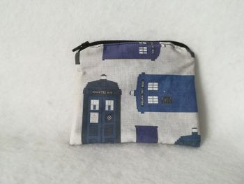Coin Purse Made With Doctor Who Fabric - TARDIS