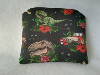 Coin Purse Made With Jurassic Park Fabric - Florasaurus