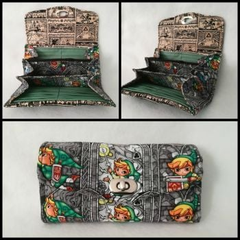 Necessary Clutch Wallet (NCW) made with The Legend Of Zelda Fabric - Windwaker