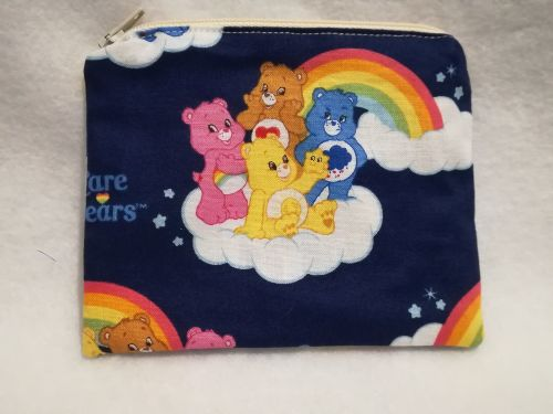 Coin Purse Made With Care Bears Fabric - Navy