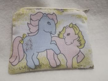 Coin Purse Made With My Little Pony Fabric - G1 Bow Tie and Sea Shell