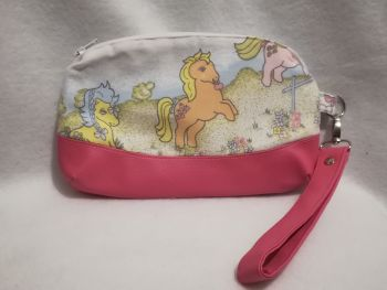 Clutch Bag Made With My Little Pony Fabric - G1 Bubbles, Applejack and Sea Shell