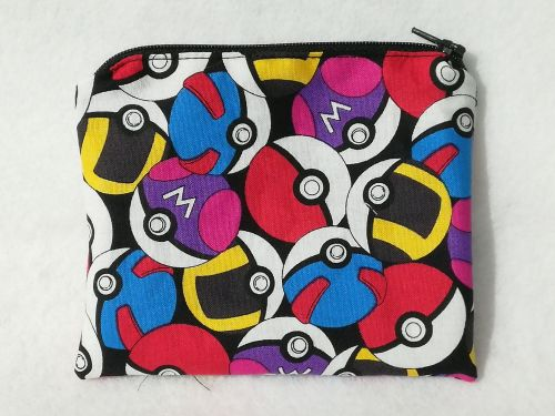 Coin Purse Made With Pokemon Fabric - Pokeballs packed