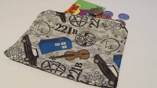 Coin Purse Made With Super Who Lock Fabric (Supernatural, Doctor Who and Sh
