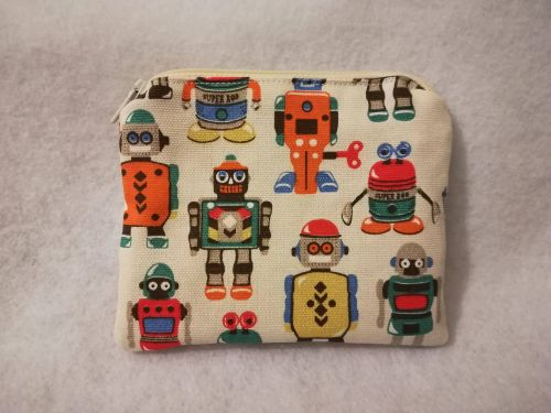 Coin purse made with Cath Kidston Robots fabric