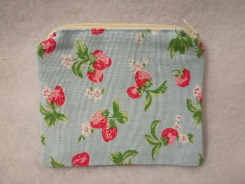 Coin purse made with Cath Kidston Strawberries fabric