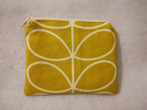 Coin purse made with Orla Kiely fabric - Mustard Yellow