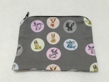 Coin Purse Made With Pokemon Fabric - Eevee Evolutions on Grey